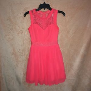 B. Smart Bright Coral Cocktail Dress